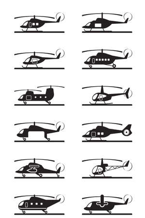 Different types of helicopters illustration Illustration