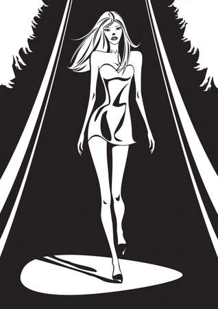 Fashion show in black and white - vector illustration