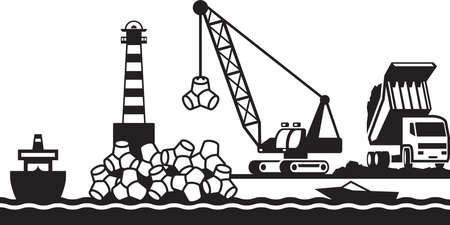 port: Construction of breakwater of the port Illustration