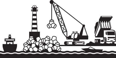 De bouw van golfbreker van de haven Stock Illustratie