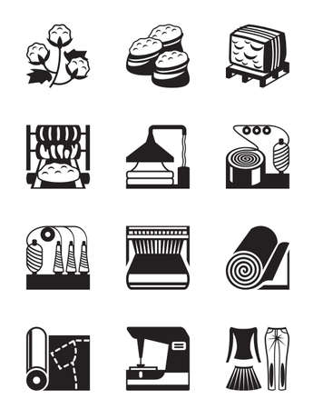 Production of cotton clothing - vector illustration