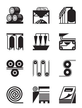 celulosa: La producción industrial de papel - ilustración vectorial Vectores