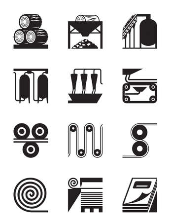 Industrial production of  paper - vector illustration
