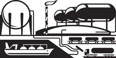 Gas tankterminal - vector illustratie