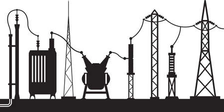 electricity pole: Electrical substation scene - vector illustration