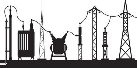 circuito electrico: Escena subestación eléctrica - ilustración vectorial