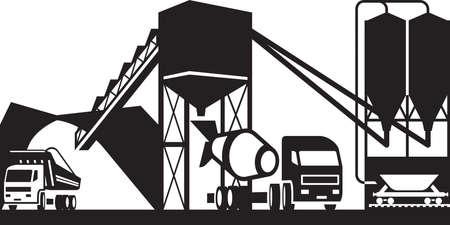Hormigón: Central de hormigón con camiones - ilustración vectorial Vectores