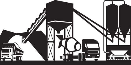 hopper: Concrete plant with trucks - vector illustration