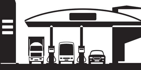 methane: Truck, bus and car at gas station - vector illustration Illustration