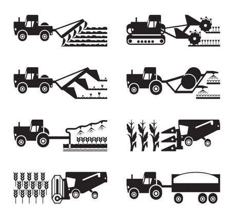 agriculture machinery: Crop growing and harvesting of agriculture Illustration