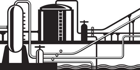 lpg: Natural gas and oil hub on pipeline - vector illustration