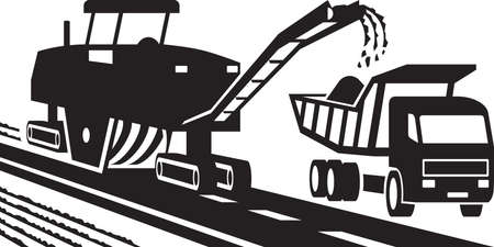 asphalt: Asphalt milling machinery - vector illustration
