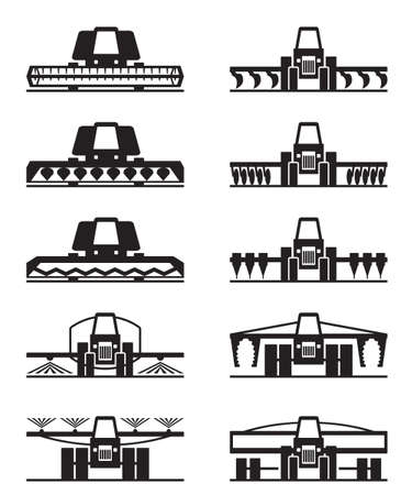 plough machine: Agricultural machinery icon set - vector illustration