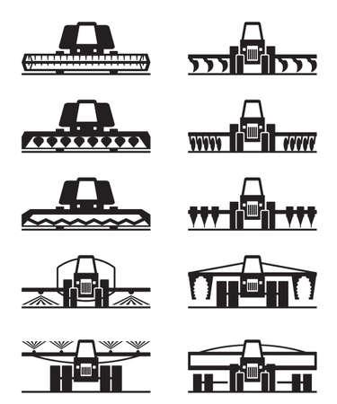 Agricultural icona macchinari set - illustrazione vettoriale