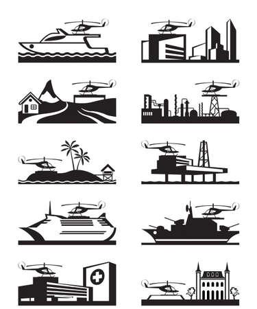 platforms: Platforms for take off and landing of helicopter Illustration