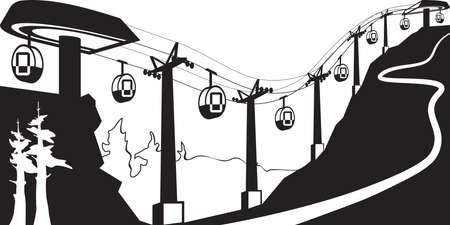 Gondellift met stations - vector illustratie Stock Illustratie