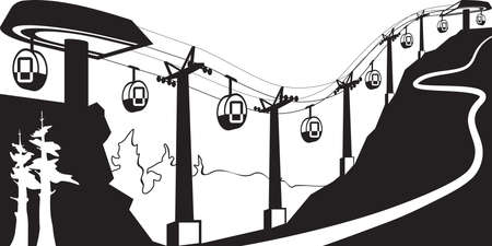 Gondola lift with stations - vector illustration Illustration