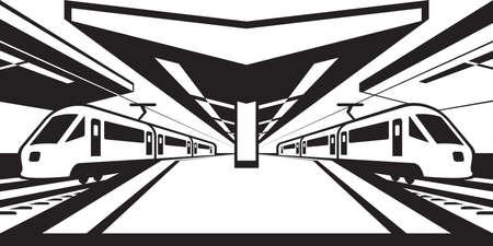 railway station: Platform of railway station with trains