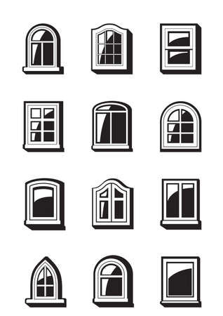 aluminum: Different windows of buildings illustration