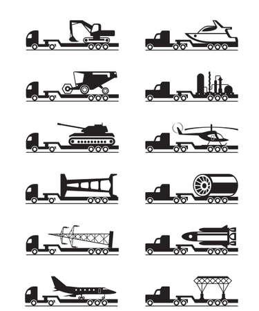 carga: Los camiones con cargas de gran tamaño - ilustración vectorial