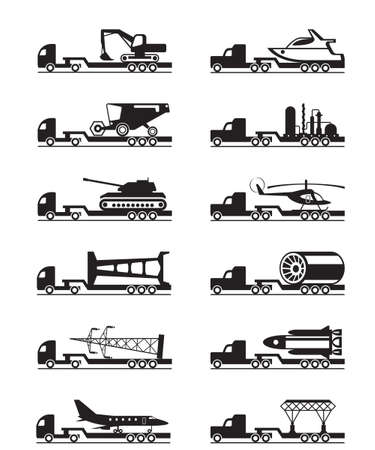 over sized: Trucks with over-sized loads - vector illustration