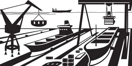Scheepsbouw met dokken en kranen - vector illustratie Stock Illustratie