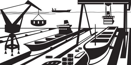 shipbuilding: Shipbuilding with docks and cranes - vector illustration