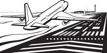Avion atterri sur la piste de l'aéroport Banque d'images - 50883948
