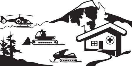 roadside assistance: Mountain rescue service - vector illustration Illustration