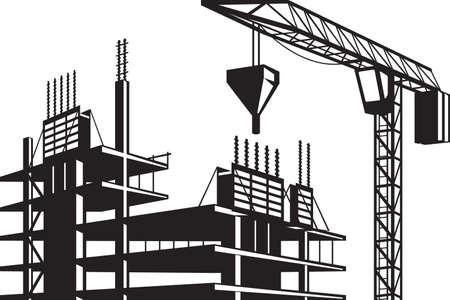 poured: Crane poured concrete construction - vector illustration