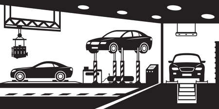 car spare parts: Garage with stand, canal and crane - vector illustration