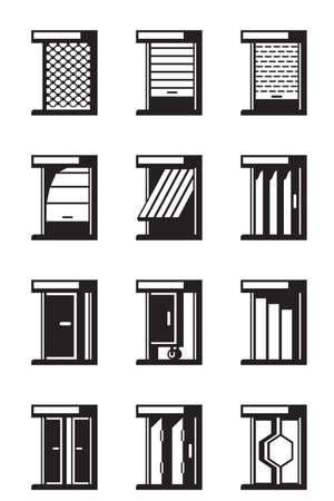Sliding, retractable and roll-up doors Stock Illustratie