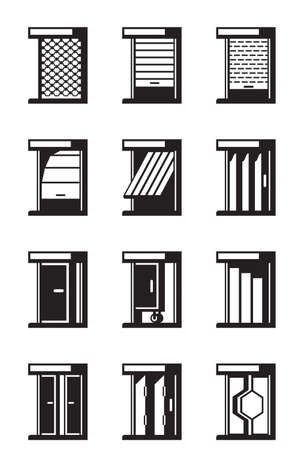 Sliding, retractable and roll-up doors Illustration