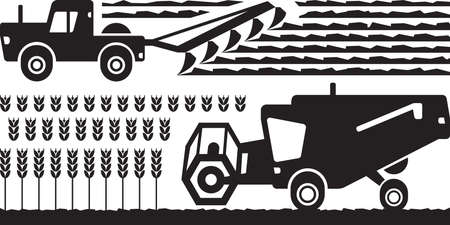 reaping: Agricultural machinery farm - vector illustration