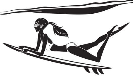 surf girl: Underwater surf girl - illustration Illustration