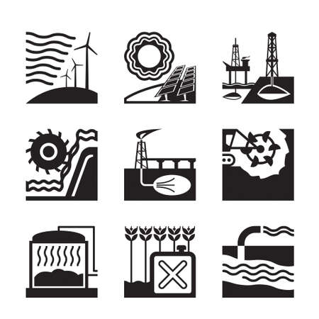 sources: Energy sources from nature - illustration