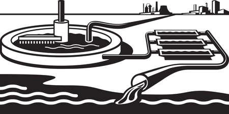 Water treatment plant - illustration Vettoriali