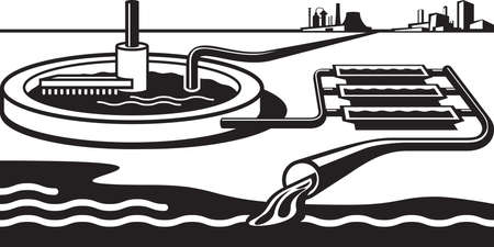 sea   water: Water treatment plant - illustration Illustration