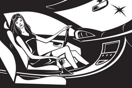 fashion model: Fashion model driving car - illustration Illustration