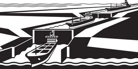 waterway: Cargo ships pass canal - illustration