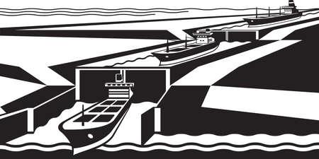 bulk carrier: Cargo ships pass canal - illustration