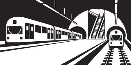 high speed railway: Platform of subway station with trains - illustration