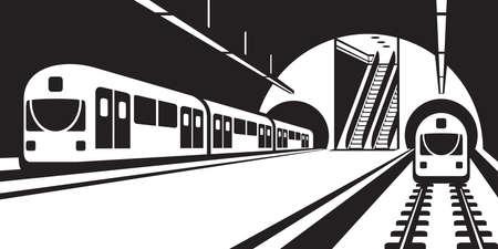 subway station: Platform of subway station with trains - illustration