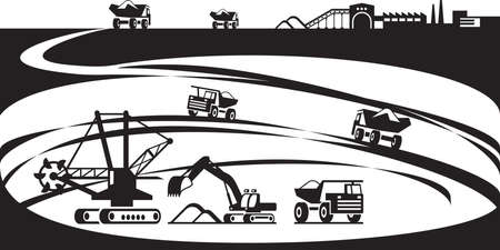 bagger: Extraction of ore from open pit - vector illustration Illustration