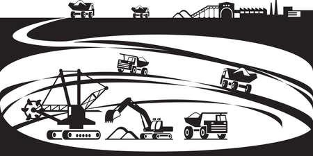 鉄鉱石の露天掘りのベクトル図から抽出