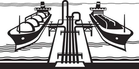 terminal: Gas tank terminal with LNG cargo ships
