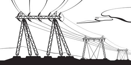transmission line: Transmission of high voltage - vector illustration Illustration
