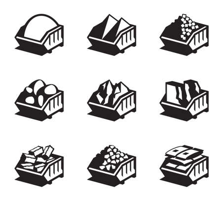 materials: Containers with building materials - illustration