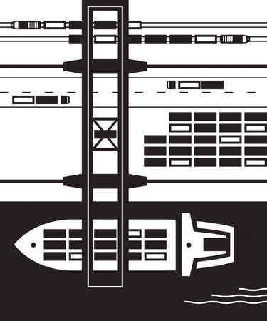 goods station: Cargo terminal from above - illustration Illustration