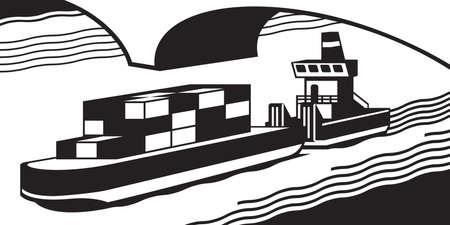 barge: Cargo ship pass river - illustration